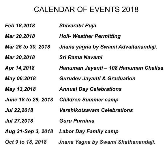 Calendar of events 2018   Chinmaya Niketan Atlanta